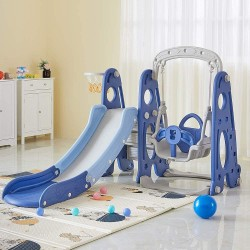 4 in 1 Slide and Swing Set - Kids Play Climber Slide Playset with Basketball Hoop Extra Long Slide Easy Set Up Baby Playset for Indoor Outdoor Backyard (Blue+White)